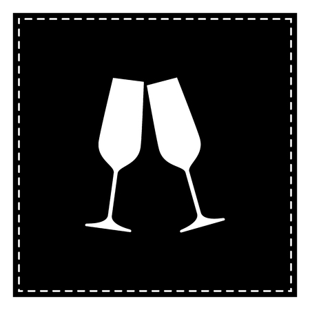 Sparkling champagne glasses. Black patch on white background. Isolated.