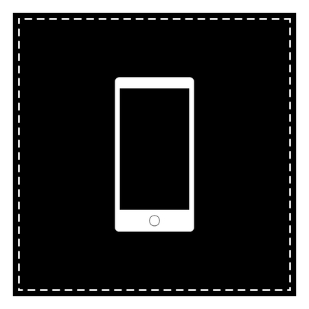 Abstract style modern gadget with blank screen. Template for any content. Black patch on white background. Isolated. Illustration