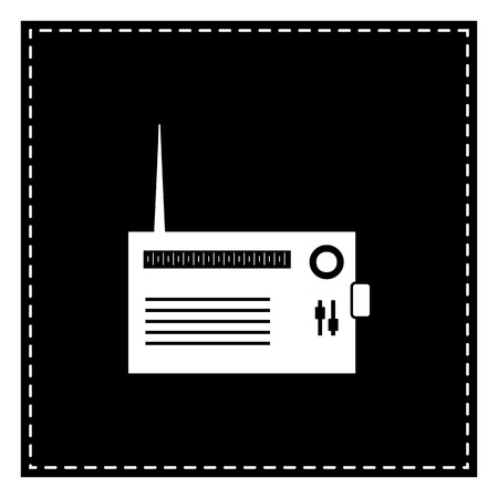 Radio sign illustration. Black patch on white background. Isolated. Illustration