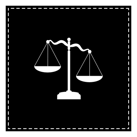 Scales of Justice sign. Black patch on white background. Isolated.