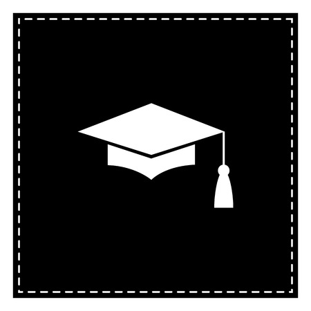 Mortar Board or Graduation Cap, Education symbol. Black patch on white background. Isolated. Illustration