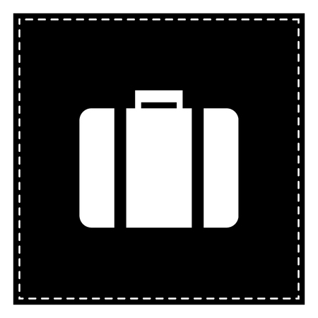 Briefcase sign illustration. Black patch on white background. Isolated.