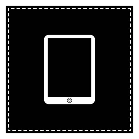 Computer tablet sign. Black patch on white background. Isolated. Illustration