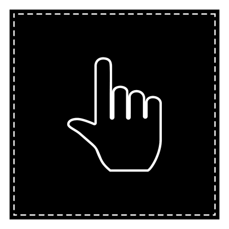 Hand sign illustration. Black patch on white background. Isolated.