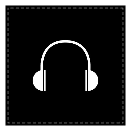 Headphones sign illustration. Black patch on white background. Isolated.