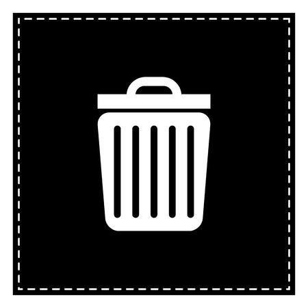 Trash sign illustration. Black patch on white background. Isolated.