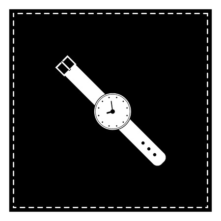 Watch sign illustration. Black patch on white background. Isolated. Illustration