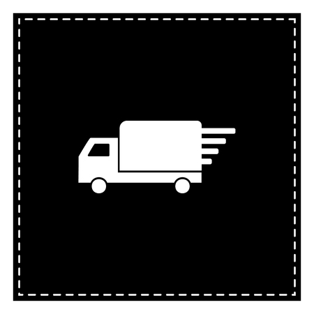 Delivery sign illustration. Black patch on white background. Isolated.