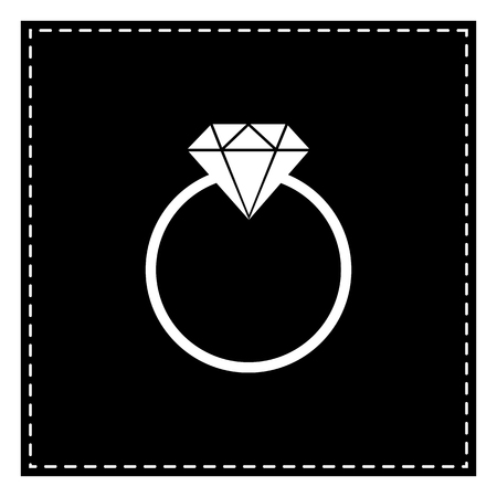 Diamond sign illustration. Black patch on white background. Isolated. Illustration