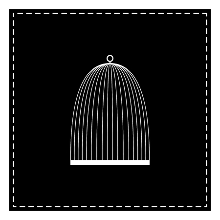 Bird cage sign. Black patch on white background. Isolated.