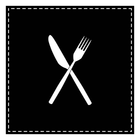 Fork and Knife sign. Black patch on white background. Isolated.