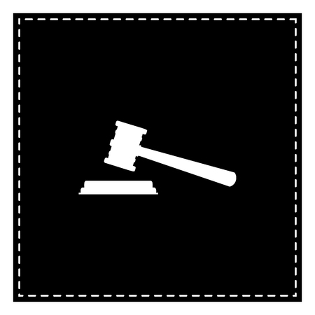 Justice hammer sign. Black patch on white background. Isolated.
