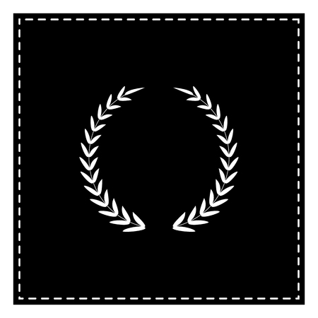 Laurel Wreath sign. Black patch on white background. Isolated. Illustration