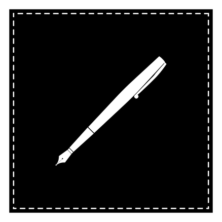 Pen sign illustration. Black patch on white background. Isolated.