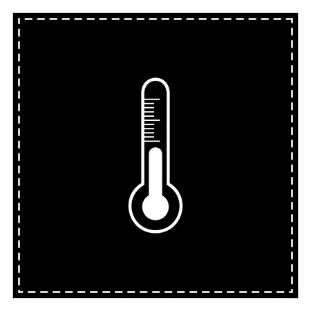 Meteo diagnostic technology thermometer sign. Black patch on white background. Isolated.