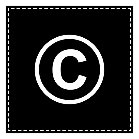 Copyright sign illustration. Black patch on white background. Isolated.