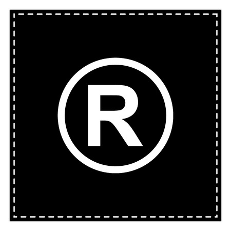 dispensation: Registered Trademark sign. Black patch on white background. Isolated.