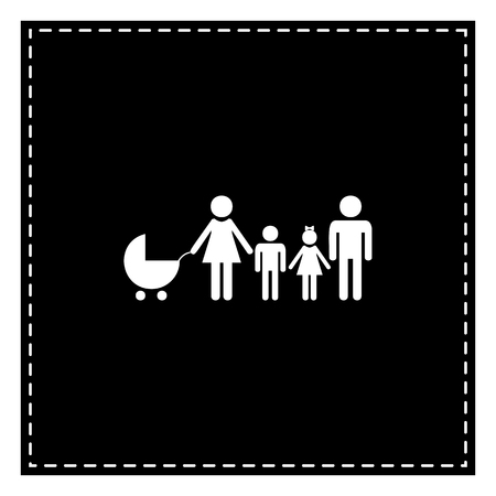 Family sign illustration. Black patch on white background. Isolated.