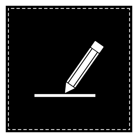 Pencil sign illustration. Black patch on white background. Isolated. Illustration