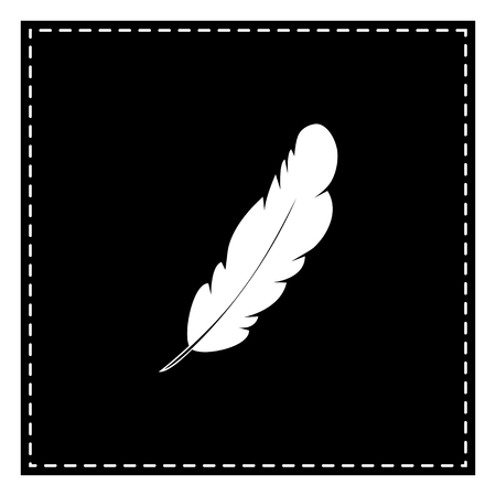 Feather sign illustration. Black patch on white background. Isolated.