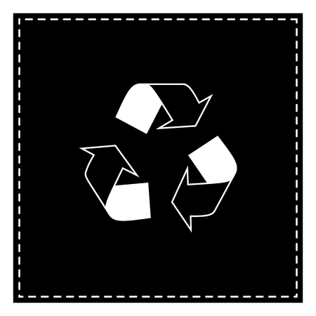 Recycle logo concept. Black patch on white background. Isolated.