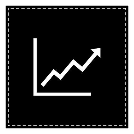 Growing bars graphic sign. Black patch on white background. Isolated. Illustration