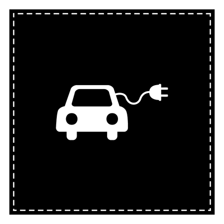 echnology: Eco electric car sign. Black patch on white background. Isolated.