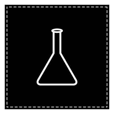 Conical Flask sign. Black patch on white background. Isolated. Illustration