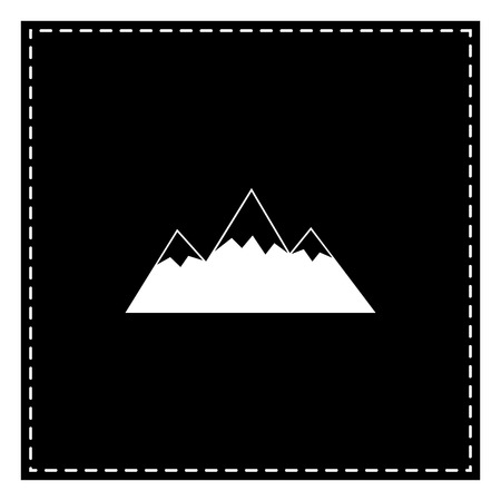 snow capped: Mountain sign illustration. Black patch on white background. Isolated.