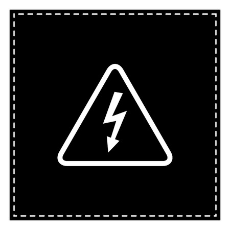 High voltage danger sign. Black patch on white background. Isolated.