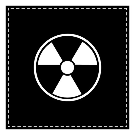 radiological: Radiation Round sign. Black patch on white background. Isolated.