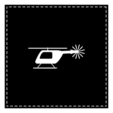 Helicopter sign illustration. Black patch on white background. Isolated.