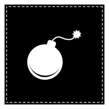 Bomb sign illustration. Black patch on white background. Isolated. Illustration