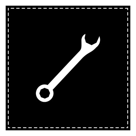 Crossed wrenches sign. Black patch on white background. Isolated. Illustration