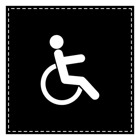 disabled sign: Disabled sign illustration. Black patch on white background. Isolated.