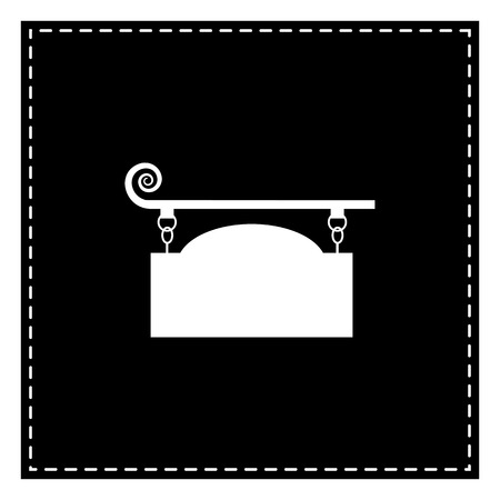 Wrought iron sign for old-fashioned design. Black patch on white background. Isolated.