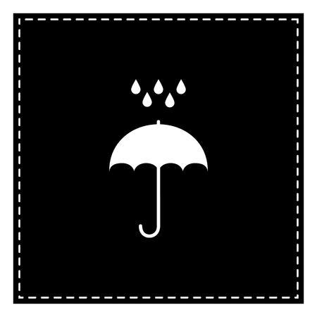 Umbrella with water drops. Rain protection symbol. Flat design style. Black patch on white background. Isolated. Illustration
