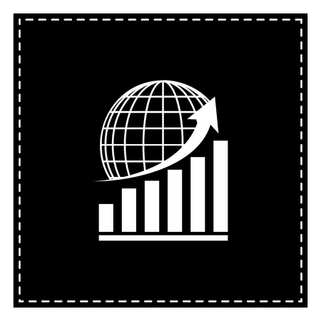 Growing graph with earth. Black patch on white background. Isolated.