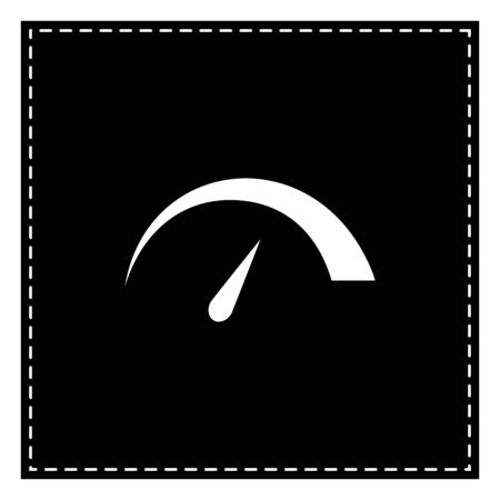 Speedometer sign illustration. Black patch on white background. Isolated.