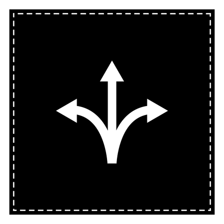 Three-way direction arrow sign. Black patch on white background. Isolated. Illustration