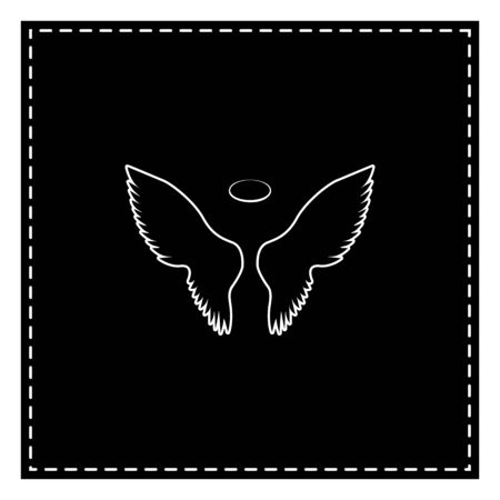 Wings sign illustration. Black patch on white background. Isolated. Illustration