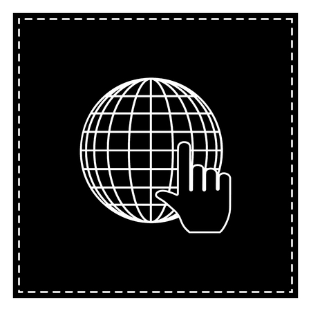 Earth Globe with cursor. Black patch on white background. Isolated. Illustration