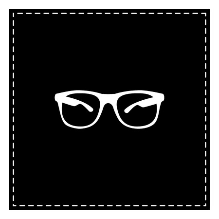 Sunglasses sign illustration. Black patch on white background. Isolated.