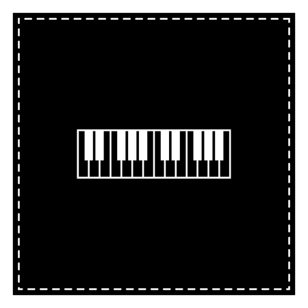 Piano Keyboard sign. Black patch on white background. Isolated.