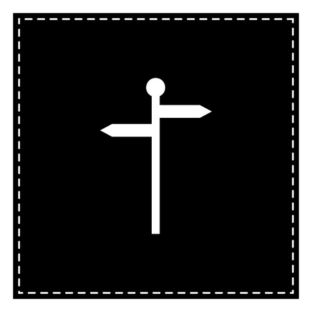 Direction road sign. Black patch on white background. Isolated.