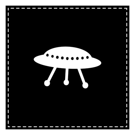 UFO simple sign. Black patch on white background. Isolated. Illustration