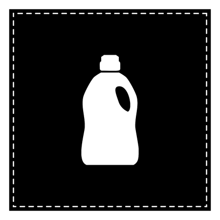 Plastic bottle for cleaning. Black patch on white background. Isolated. Illustration