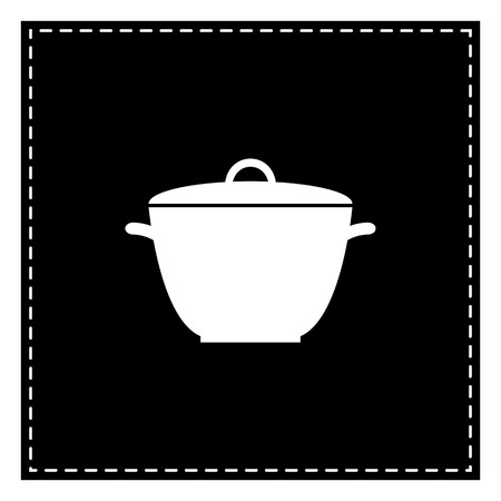 Saucepan simple sign. Black patch on white background. Isolated. Illustration