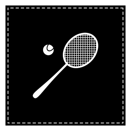 racquet: Tennis racquet sign. Black patch on white background. Isolated. Illustration