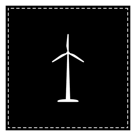Wind turbine or sign. Black patch on white background. Isolated.